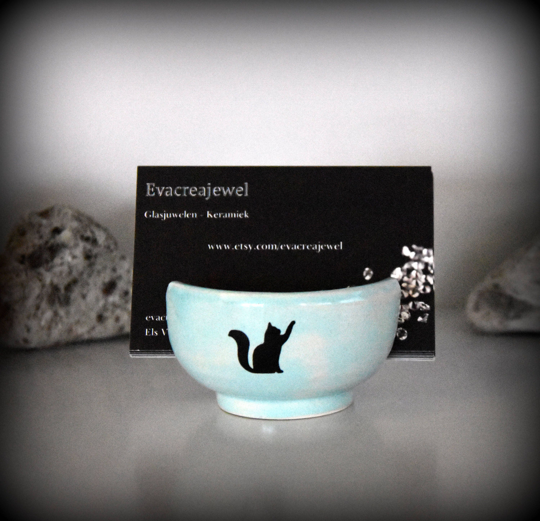 Unique handmade ceramics business card holder with decal catpuss unique handmade ceramics business card holder with decal catpuss pottery reheart Gallery
