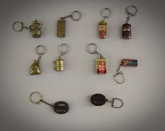 Vintage keychains / advertising / theme coffee - tea / 1968 / set of 10 pieces