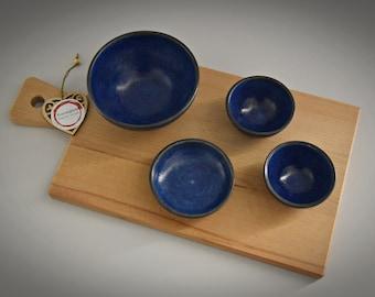 Set of 4 unique hand-turned tapas bowls / bowls / ceramics - stone goods (signed)