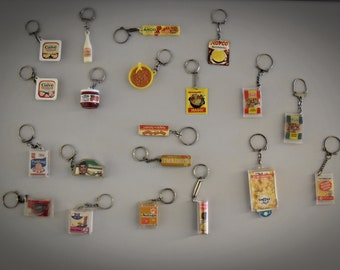 Vintage keychains / advertising / food theme / 1968 / set of 20 pieces