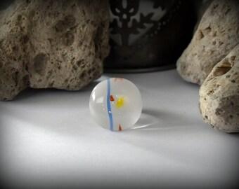 Summer Adjustable ring/bullseye glass/Opal white speckled