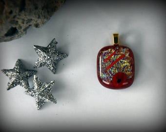 Dichroic glass pendant/glass jewel/millefiori/glass rods/Red