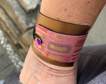 Gold Leather with Pink - Purple Accent Cuff Boho Bracelet adjustable