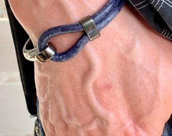 Worn look Cobalt Blue Thick Leather Bracelet with Gunmetal half bangle gifts from daughter to Dad Fathers Day