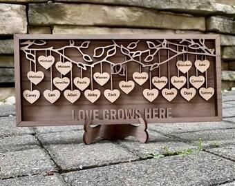 Custom Family Tree Wall Art up to 25 names in Walnut Wood Home Decor