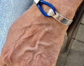 Jersey Blue Leather Bracelet Bangle gifts from daughter to dad Cuff Jewlery Summer vibes