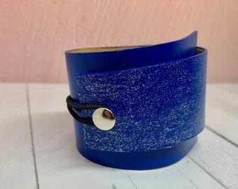 Glitter Leather Cuff Wrap bracelet Blue sparkle unisex gift
