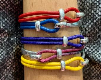 Summer Lovin Stackable - Rainbow of colours - Leather Bangle Bracelets