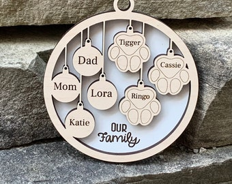 Personalized Custom 4.25 inch round Family and Furbaby Ornament Wall Decor