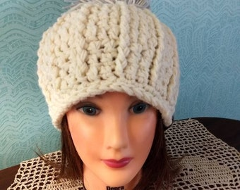 6a1aae87321 Women s crochet hat   pom pom beanie winter hat for ladies woman s gift ladies  gift gift for her teens gift