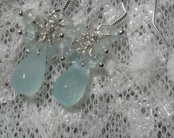 Chalcedony and Aquamarine Cluster Earrings