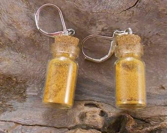 Earrings magic vial, fairy dust, spice, lavender, thyme