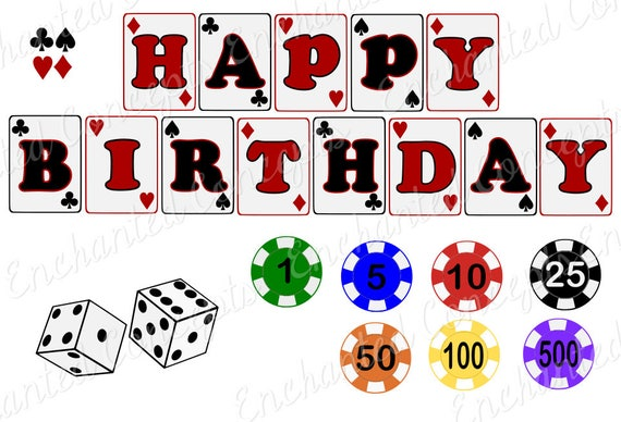 Poker Svg Bundle Birthday Banner Svg Dice Cutting Files Etsy
