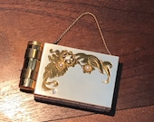 Awesome MIDCENTURY Ladies Compact Purse Lipstick Powder Carrier Wallet with Rhinestones and Faux Pearls