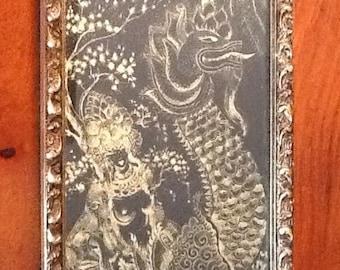 RARE Sascha Brastoff SASCHA B Original Drawing Gold Ink On Black Paper in a Frame