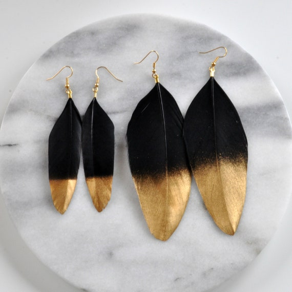 Gold Dipped Feather Earrings Feather Earrings Gray Gold Dipped Duck Feather Earrings Boho Feather Earrings Dipped Feather Earrings