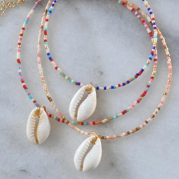 Cauri shell necklace white black and turquoise heishi beadssurf boho necklace