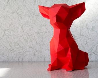 Chihuahua (dog, paper dog, origami dog, little dog, pocket dog, polygonal, papercraft, lowpoly, DIY template, PDF)