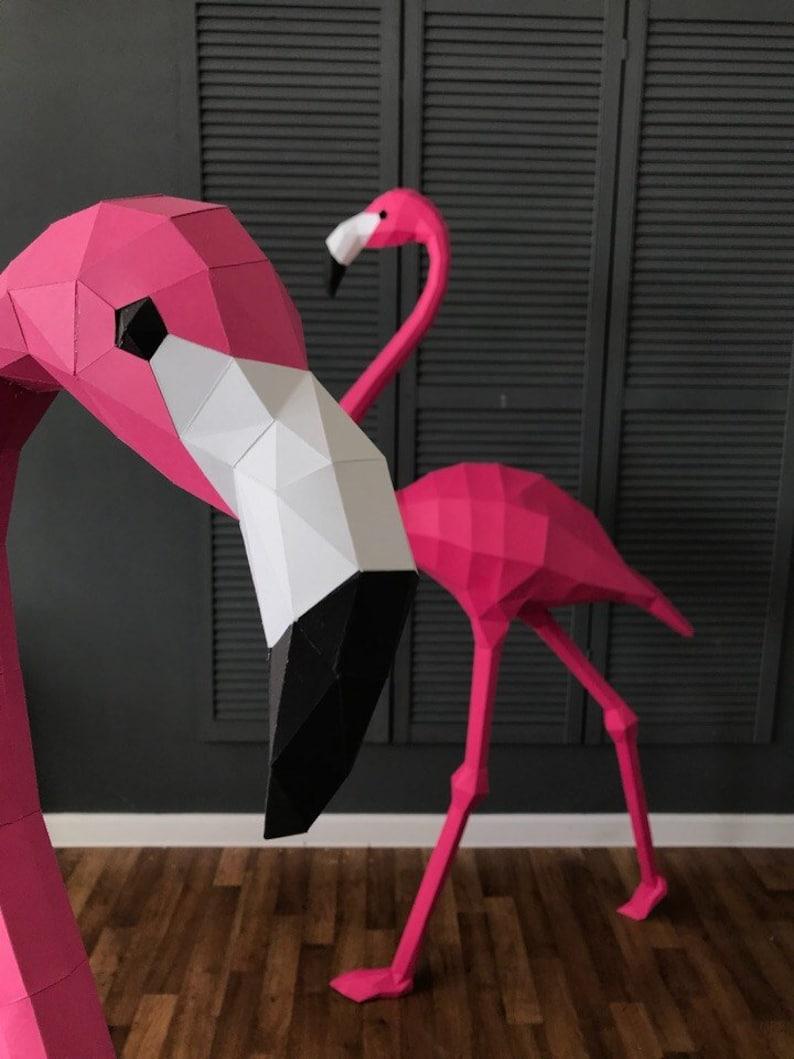 Origami bird, DIY paper flamingo, Home decor, 3d papercrafts, paper model, paper toys, DIY template, sculpture decor, trophy Flamingo