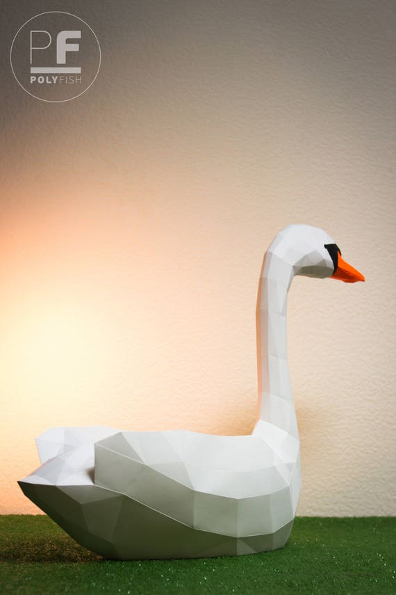 Swan Paper Swan Origami Swan 3d Swan White Swan Etsy
