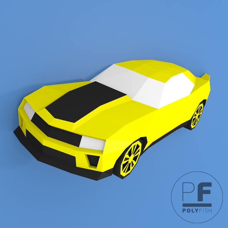 Chevrolet Camaro (DIY paper car, Home decor, Wall decor, 3d papercrafts,  paper model, paper toys, DIY template, sculpture decor, Toy for Boy