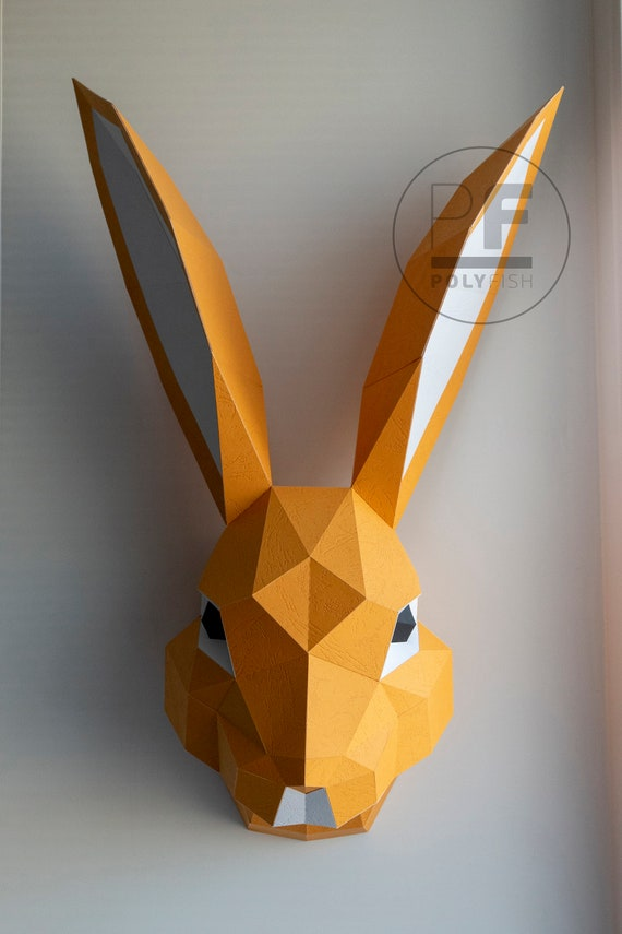 Rabbit Mask 3D Polygon Manual DIY Origami Paper Die Set Easter ... | 855x570