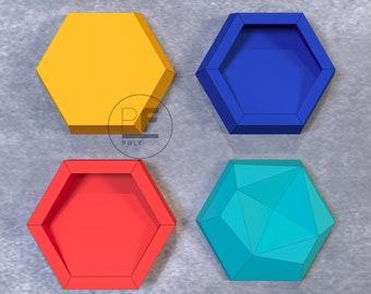 Honeycomb, Set of 4 templates. Decor, Paper Installation, Wall decoration, Hexagon, DIY Paperart