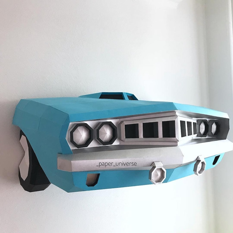 Plymouth Barracuda (DIY paper car, Home decor, Wall decor, 3d papercrafts,  Paper Vehicle, 3D model, DIY template, Sculpture decor, Origami)