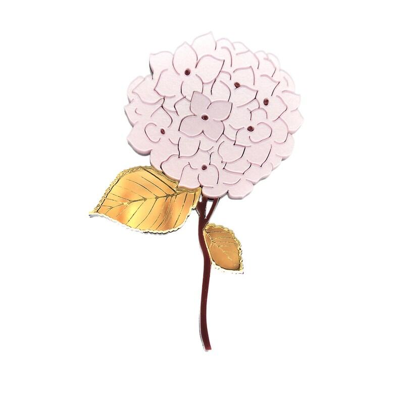 flower acrylic jewellery hydrangea jewelry flower clover gift laser cut statement brooch acrylic brooch Hydrangea Brooch