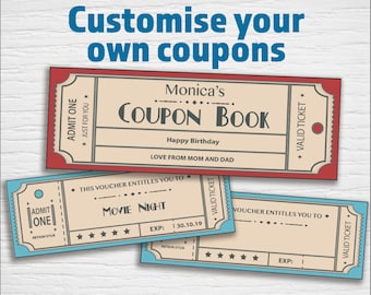 printable coupons retro editable pdf instant download