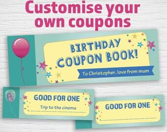 birthday coupon book etsy