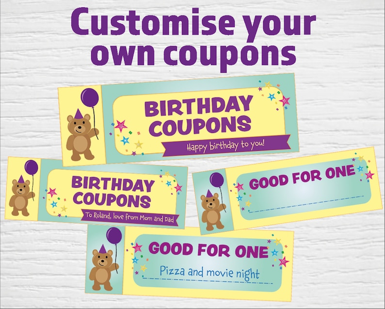 picture about Printable Birthday Coupons identified as Printable birthday Coupon codes (editable PDF) Fast down load