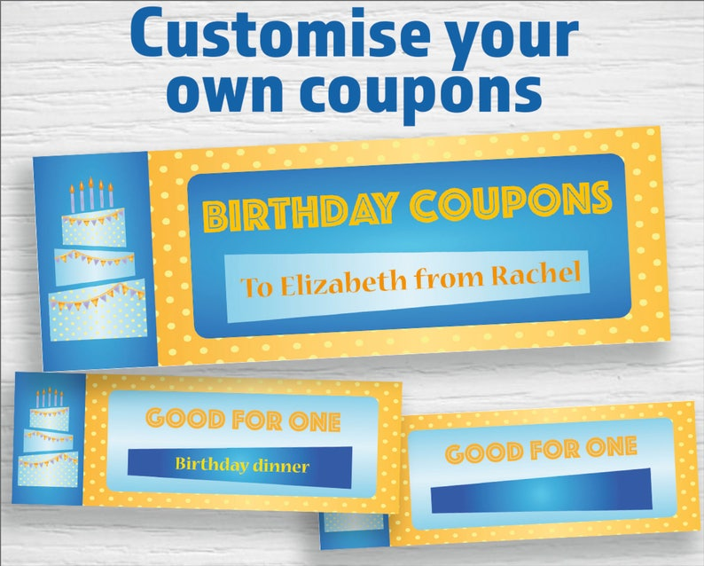 graphic about Printable Birthday Coupons titled Printable birthday Discount coupons (editable PDF) Quick down load