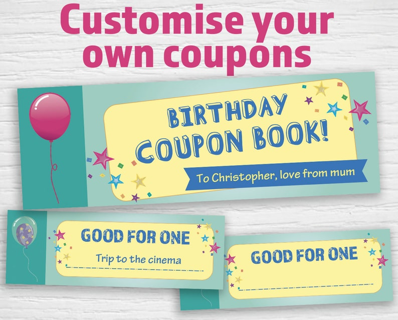 picture relating to Printable Birthday Coupons identify Printable birthday Discount coupons (editable PDF) Quick down load