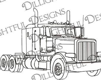 In Memory Of SVG Trucker Tractor Trailer Semi Digital Die