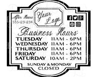 Business Hours SVG Digital Decal Business Hours Sign