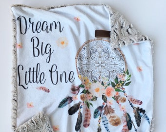 DREAM BIG >> baby boy blanket, baby girl blanket, soft cuddle blanket, minky blanket, stroller blanket, faux fur blanket, playmat