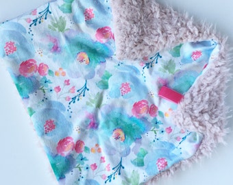 BLUE PLUSH WATERCOLOR >> baby boy blanket, baby girl blanket, soft cuddle blanket, minky blanket, stroller blanket, faux fur blanket, pla