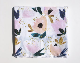 NAVY FLORAL WATERCOLOR >> baby boy blanket, baby girl blanket, stroller blanket, swaddle blanket, lightweight blanket, organic swaddle