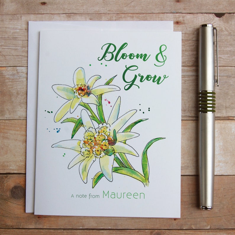 Botanical notes Unique flower Edelweiss thank you note Alpine Mountain flower Personalized Edelweiss Flower Bloom and Grow Note Cards