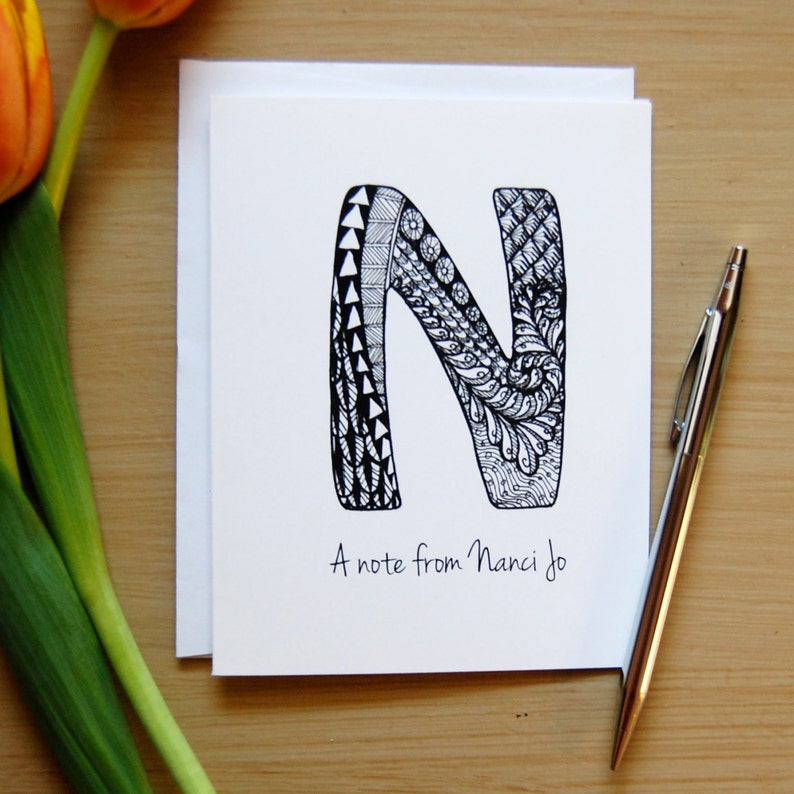 Illuminated Letters Teacher Gift Thank You Note Personalized Note Cards Q Monogram Zentangle Note Card Bridesmaid Gift Coworker Gift