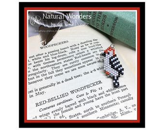 Beaded Red-bellied Woodpecker Charm Necklace - beaded bird jewelry, beaded woodpecker, unique animal inspired jewelry, gifts for bird lover
