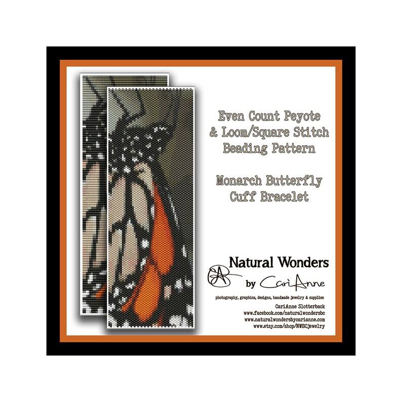 cuff bracelet pattern monarch butterfly pattern butterfly bracelet Monarch Butterfly Cuff Bracelet Loom /& Peyote stitch beading pattern