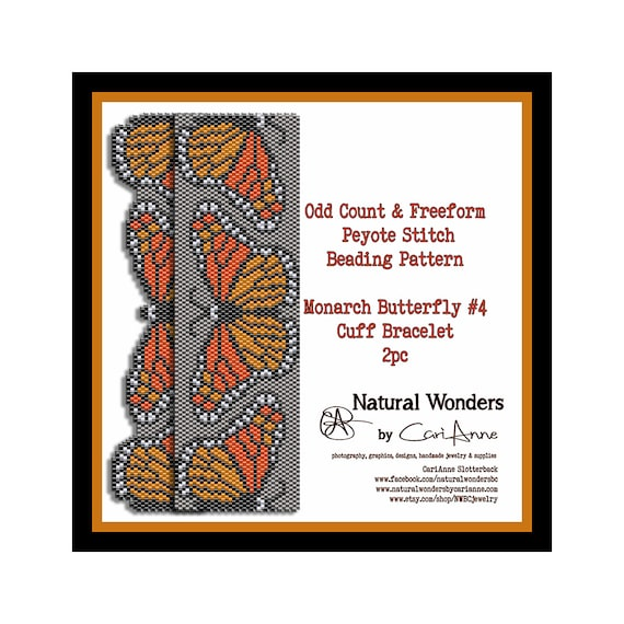 590019cf26b5 Monarch Butterfly Cuff Bracelet 2 pack - freeform   odd count peyote stitch  beading patterns