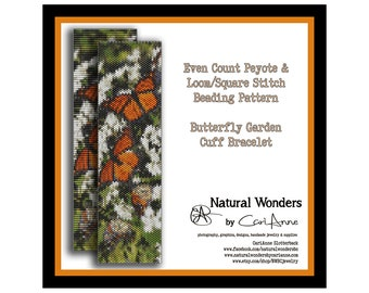 Monarch Butterfly Cuff Bracelet - Loom & Even Count Peyote stitch beading pattern, square stitch,  monarch pattern, animal cuff bracelet