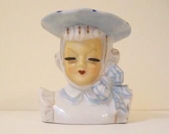 vintage lady headvase porcelain wide brimmed hat