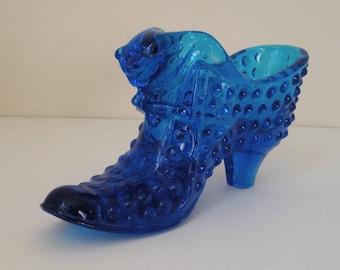 Fenton hobnail cat's head glass shoe electric blue