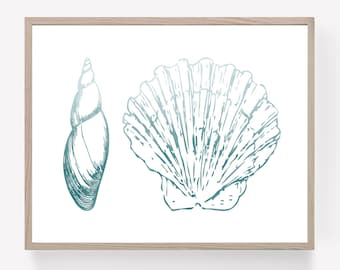 Blue Sea Shells Printable, Ombre Shell Print, Nautical Wall Art, Coastal Home Decor, Beach Wall Art, Summer Wall Decor, Navy Shell Poster,