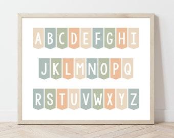 Alphabet Printable, School Room Print, Play Room Artwork, ABCs Printable, School Room Wall Art, Learning Printable, ABC Banner Printable