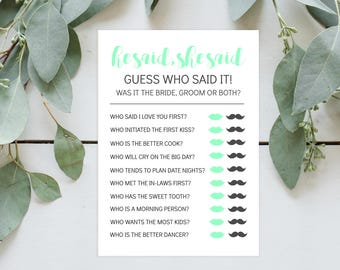 Mint He Said She Said Bridal Shower Printable Game Instant Download -  Blue, Bride, Groom, Lips, Mustache, Guess Who, Bride and Groom